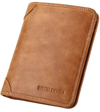Bison Denim Genuine Cowhide Vintage Bifold Leather Wallets for Men