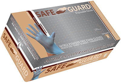Safeguard Blue Nitrile Examination Glove