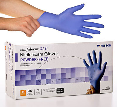 McKesson Confiderm 3.5C Nitrile X-Small Exam Gloves