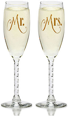Smart Tart Mr. & Mrs. Gold Champagne Flutes