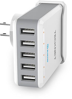 TeckNet 5-Port Desktop USB Wall Charger
