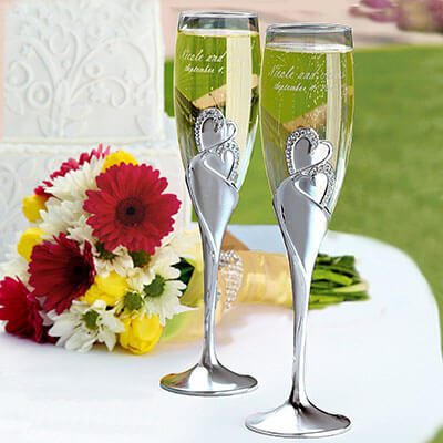 All Things Weddings Customized Sparkling Love Champagne Flutes
