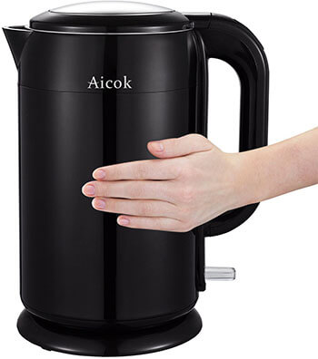 Aicok Double Wall Stainless Steel Electric Tea Kettle