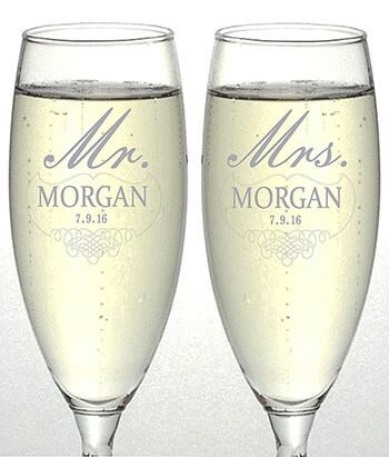 OTR-Custom Mr. and Mrs. Design Personalized Wedding Champagne Flutes
