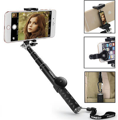 Foneso 7-in-1 Aluminum Extendable Self-Portrait Selfie Stick