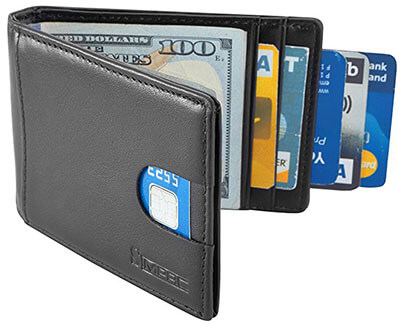 Simpax RFID Genuine Leather Thin Minimalist Credit Card Wallet