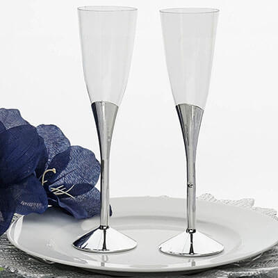 Efavormart Disposable Clear Plastic Champagne Flutes