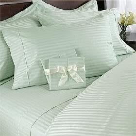 Luxurious Six Piece Damask Stripe Green Cotton Bed Sheet