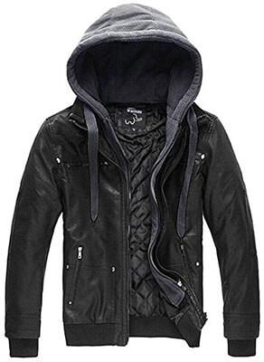 Wantdo Men's Leather Jacket, Removable Hood
