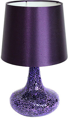 Simple Designs Home LT3039-PRP Mosaic Tiled Glass Genie Table Lamp