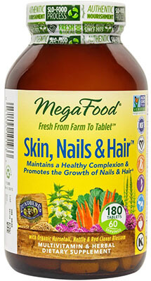 MegaFood Skin, Nails & Hair, Promote 180 Tablets