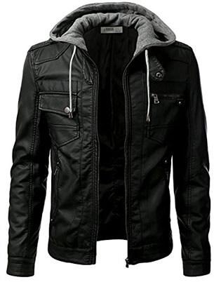 IDARBI Premium Pu Faux Leather Moto Biker Jacket for Men