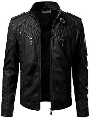 IDARBI Men's Moto Biker Jacket, Faux PU Leather