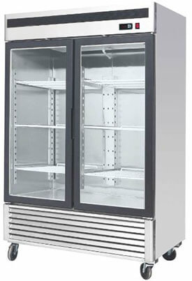 "MCF-8703 Freezer 54.5"" 2 Double Door Upright Stainless Steel Freezer, Glass Window"