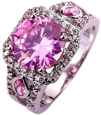Psiroy Women's 925 Sterling Pink Topaz Filled Ring