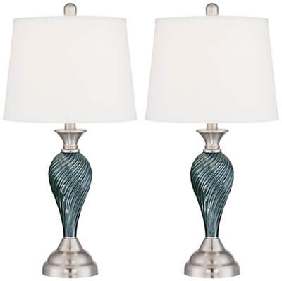 Regency Hill Arden Green-Blue Glass Twist Column Table Lamps