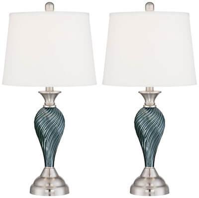 Regency Hill Arden Green-Blue Glass Twist Column Table Lamps