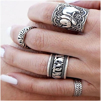 Store Vintage Silver Elephant Joint Knuckle Nail Rings