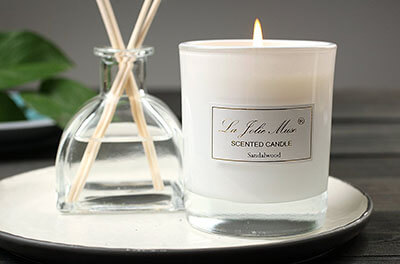 La Jolie Muse Sandalwood Scented Candles, Glass Jar