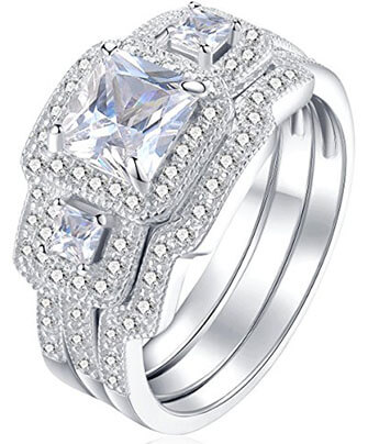 Newshe Jewellery White Cz 925 Princess Sterling Silver Rings