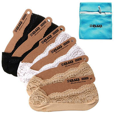 EPLAZA Silicone Grip Women Lace No Show, 6 Pairs