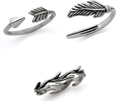 Silvershake Feather, Arrow & Wood Texture Sterling Silver rings