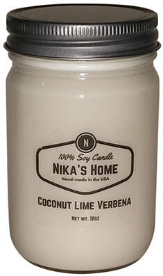 Nika's Home Verbena Soy Candle, Coconut Lime