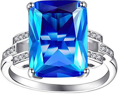 ZENI Women Blue Sapphire Rings 925 Sterling Silver