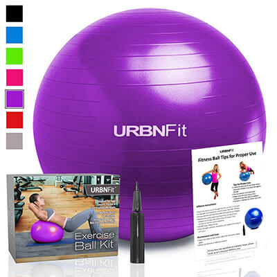 URBNFit Exercise Ball, Anti Burst Professional Quality Design