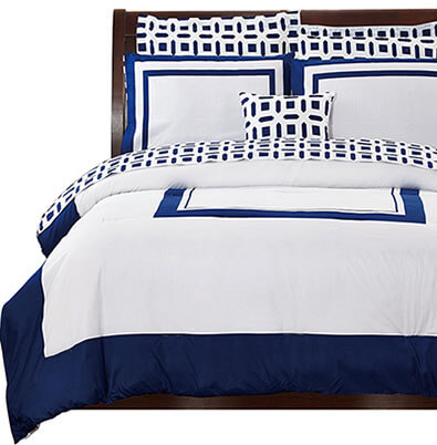 Utopia Bedding 8-Piece Reversible Comforter Blue Bed Sheet Set