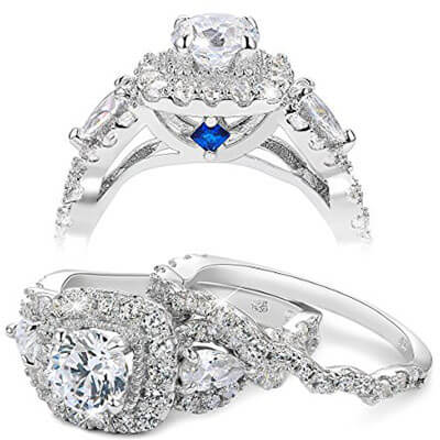 Newshe Jewellery Sterling Silver Wedding Engagement Rings
