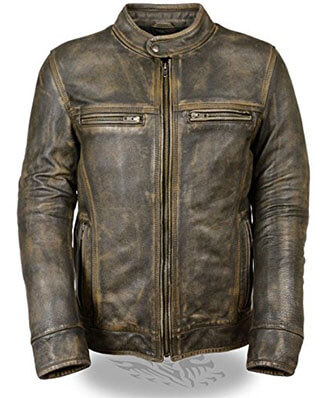 Bzpath Cafe Racer Distressed Wax Men's Vintage Motorcycle Leather Jacket