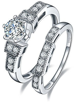 Bonlavie 925 Sterling Silver Bridal Ring Set