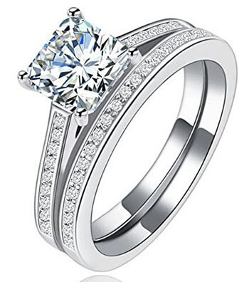 Tenfit Sterling Silver Princess Cut Halo Ring Set