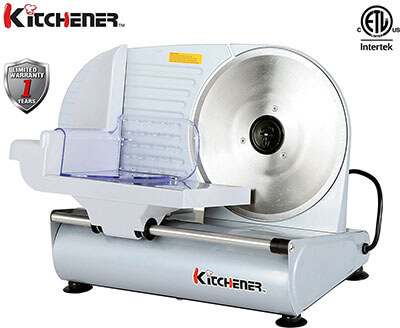 Kitchener 9-inch Professional Electric Meat Food Slicer, Stainless Steel Blade