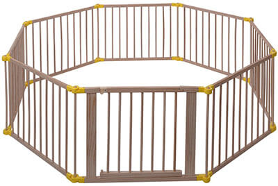Costzon Baby Playpen, wooden frame, foldable