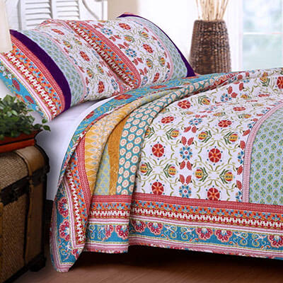 Finely Stitched Retro Boho Quilt Bedding