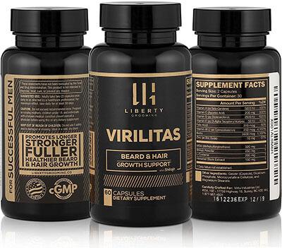 Liberty VIRILITAS | Beard & Hair Growth Vitamin, Biotin, Shilajit