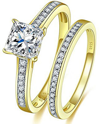 Bonlavie 1.35ct 18k Gold 925 Sterling Silver Engagement Ring Sets