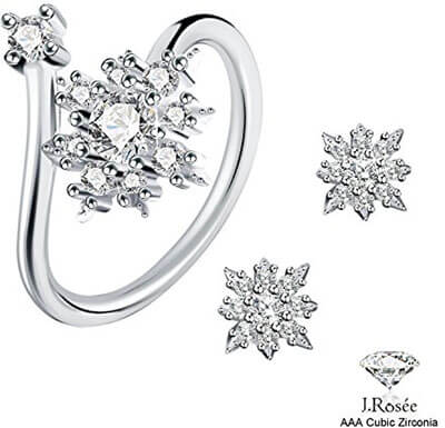 Rosée 925 Sterling Silver Snowflake Stylish Jewelry Set