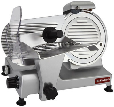 "BESWOOD 9"" Premium Carbon Steel Blade Electric Meat Slicer, Chromium-plated"