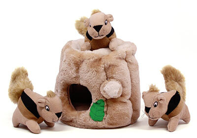 Outward Hound Hide-A-Squirrel and Puzzle Plush Squeaking Dog Toys