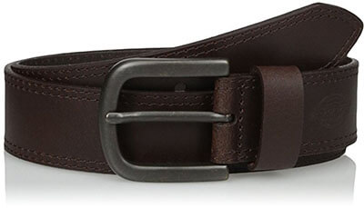 Dickies Mens 1 1/2 in. Leather Belt, Two Row Stitch