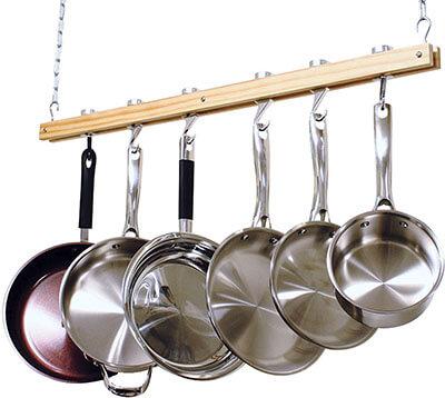 Cooks Standard Ceiling Pot Rack, Wooden