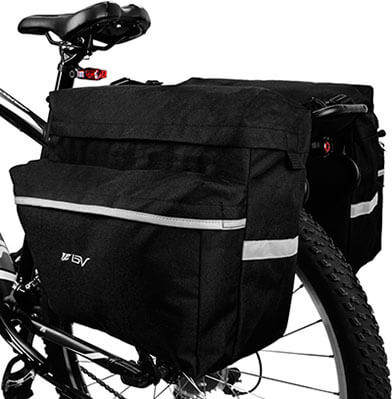 BV Bike Bag Bicycle Panniers, Adjustable hooks, carrying handle