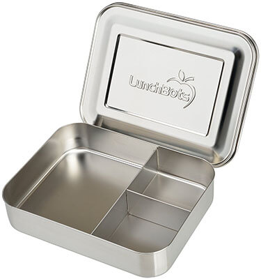 LunchBots Bento-Trio Large Stainless Steel Food Container