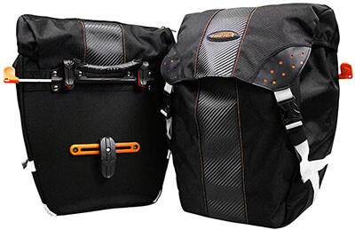 Ibera Quick-Release All-Weather Bicycle Bag PakRak Clip-On Panniers Bags