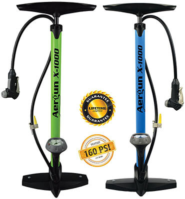 AerGun X-1000 Bike Pump, 160 PSI, eBook on Tires