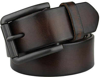 Bullko 7059 Men's Retro Pin Buckle Leather Belt