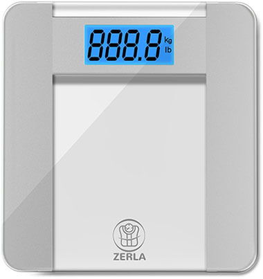 "ZERLA Digital Bathroom Scale, ""Step-On""Technology, Tempered Glass"